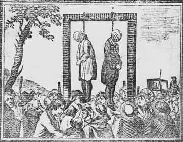 Illustration of corporal punishment by hanging